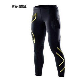Men's Sports Tights Men's Casual Pants Running Fitness Trousers Fast Dry Trousers Compression Pants - Gold - intl
