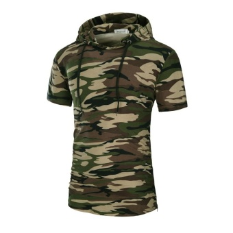 Men's summer new hooded camouflage T-shirt with short sleeves - intl
