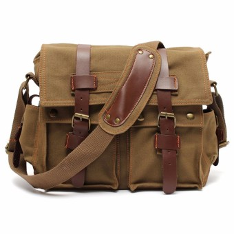 Men's Vintage Canvas Leather Military Large Shoulder Messenger Bag Khaki - intl