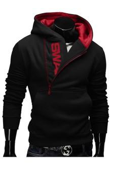 Men's Zipper Hit Color Hoodies Sweater Sweatshirt Jacket Coat(Black) (Intl) - 2