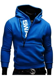 Men's Zipper Hit Color Hoodies Sweater Sweatshirt Jacket Coat(Blue) (Intl)