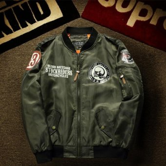 Mens Air Force Embroidered Badge Baseball Bomber Jackets - intl(Int:L)