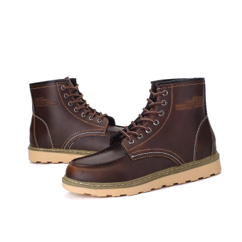 Men's Ankle Boots Snow Boots Warm Fur Outdoor Working Boots MartinBoots Walking Shoes Brown - 5