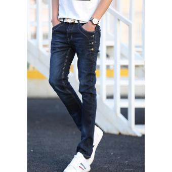 Men's Buttons Design Denim Jeans (Dark) - 2