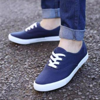 Men's Canvas Shoes Sneakers With Lace - Navy Blue