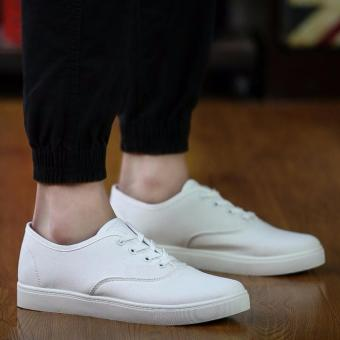 Men's Canvas Shoes Sneakers With Lace - White
