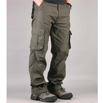 Men's Cargo Pants Casual Mens Pant Multi Pocket Military OverallMen Outdoors High Quality Long Trousers (Army Green) - intl