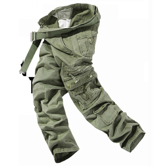 Men's Cargo Pants Casual Multi Pocket Trousers No Belts(Army Green)