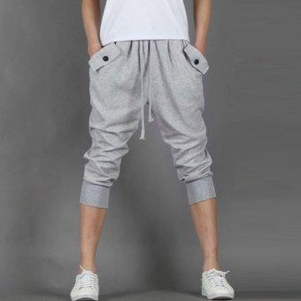 Mens Casual Jogger Sports Shorts Pants (Light gray) - 3