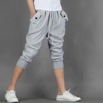 Mens Casual Jogger Sports Shorts Pants (Light gray) - 2