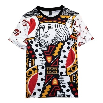 Men's Casual Short Sleeve T-shirt 3 D Digital Printed CARDS Old KKing of Hearts