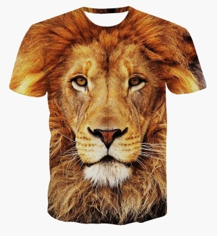 Men's casual short-sleeved t-shirt 3D digital printing Lions