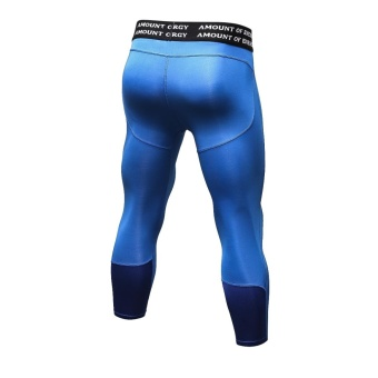 Men's Compression Fitness Pants 3/4 Sports Tights Leggings(Blue) -intl - 3