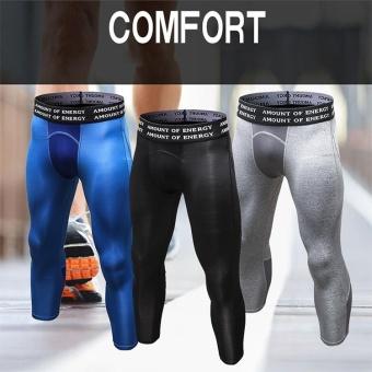 Men's Compression Fitness Pants 3/4 Sports Tights Leggings(Blue) -intl - 4