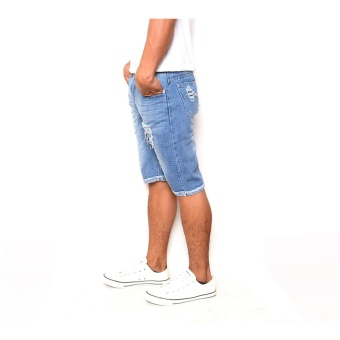 Men's Cool Ripped Light Blue Denim Short - 2