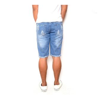 Men's Cool Ripped Light Blue Denim Short - 3