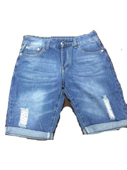 Men's Denim Tattered Short. (Light Blue) - 4