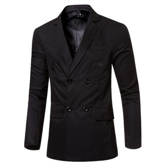 Men's Double Breasted Suit Coat (Black) - intl