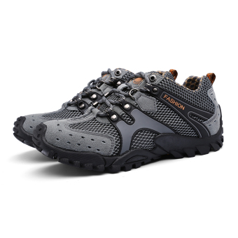 Mens Durable Hiking Shoes Mountain Climbling Shoes Super BreathableTrekking Shoes Outdoor Sports Shoes Grey - 5