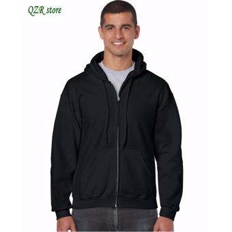 Men's fashion sports sweater solid color zipper jacket (Black)-INTL