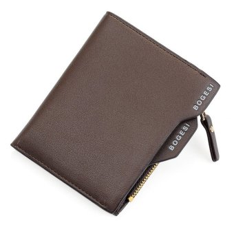Men's Faux Leather ID credit Card holder Clutch Bifold Coin Purse Wallet Brown