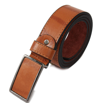Mens Genuine Leather Vintage Metal Automatic Buckle Waist Band Strap Belt Brown - 3
