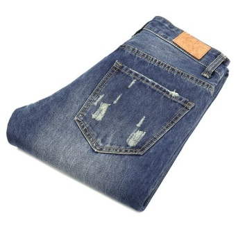 Mens high quality Patch Jeans ripped jeans for men holes pants denim trousers- Blue - intl - 4