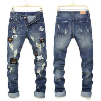 Mens high quality Patch Jeans ripped jeans for men holes pants denim trousers- Blue - intl