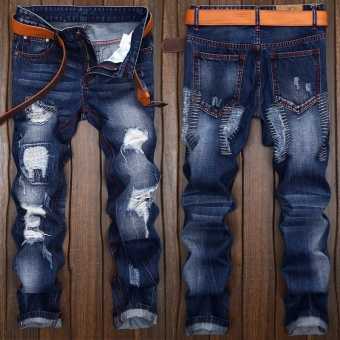 Mens high quality Patch Jeans ripped jeans for men holes pants denim trousers- Dark Blue - intl