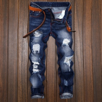 Mens high quality Patch Jeans ripped jeans for men holes pants denim trousers- Dark Blue - intl - 2