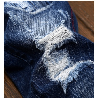 Mens high quality Patch Jeans ripped jeans for men holes pants denim trousers- Dark Blue - intl - 4