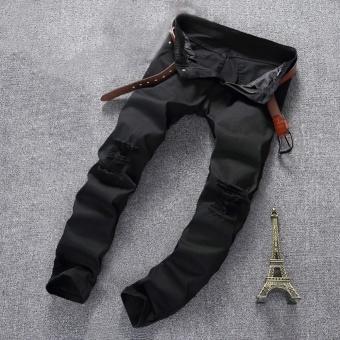 Men's Jeans Moto Black Denim Pants Slim Distressed Ripped SkinnyFit Trousers Black - intl - 2
