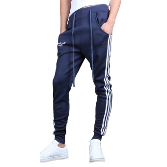 Mens Jogging Pants Tracksuit Bottoms Training Running Trousers Blue