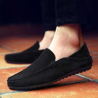 Men's Leather Casual Loafer Shoes Light Driving Shoes Black - intl