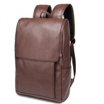 Mens Leather Fashion Casual Backpack Shoulder Bag (Coffee)