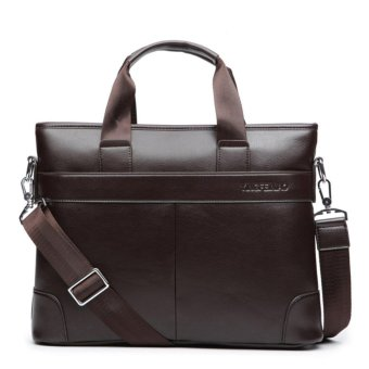 Mens Leather Laptop Briefcase Bag Satchel Shoulder Messenger Bags Brown - intl