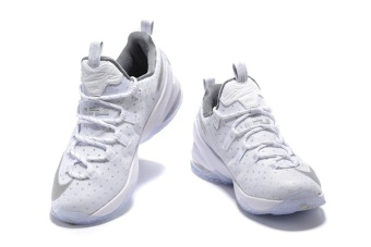 Mens Lebron XIII Low EP James 13 Basketball Shoes White/Sliver -intl