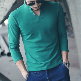 Men's Leisure Long Sleeve High-neck Cotton?Casual Polos Green