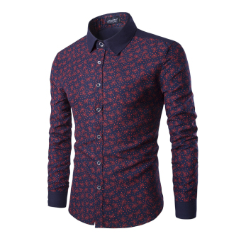 Mens Long Sleeve Slim Fit Formal Shirts(Red) - intl