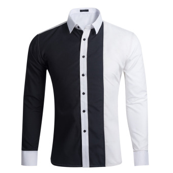 Mens Long-sleeved Casual Shirt Stitching Color Slim Shirt (Black + White) - intl