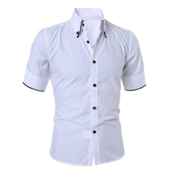 Mens Luxury Short Sleeve Shirt Slim Fit Casual Dress Shirts(White)(M) - intl