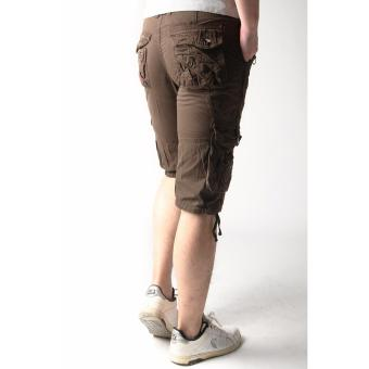 Men's New Army Six Pocket Cargo Shorts with Rope Design(Brown) - 4