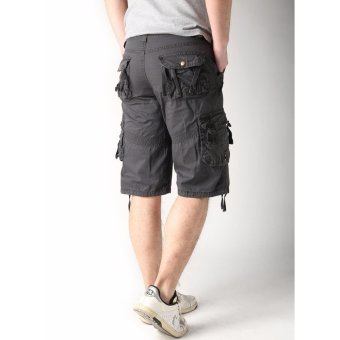 Men's New Army Six Pocket Cargo Shorts with Rope Design(Grey) - 2