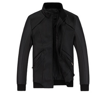 Men's new fashion slim Long-Sleeved motor leather jacket purecolor(black) - intl
