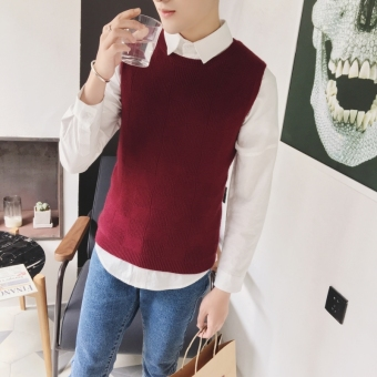 Men's new fashion slim Sleeveless sweater pure color (WINE RED) -intl