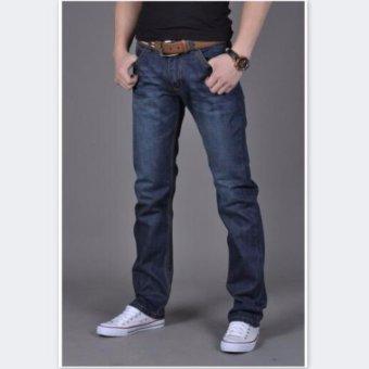 Mens Plus-size Cotton Denim Slim-fit Straight Long Jeans Trouser - intl - 3