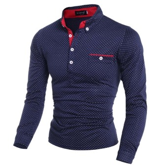 Mens Slim Fit Long Sleeve Casual Polo Shirt(Dark blue)