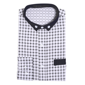 Mens Slim Fit Shirts Long Sleeve Formal Dress CasualT-shirt(White)L - intl - 5
