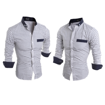 Mens Slim Fit Shirts Long Sleeve Formal Dress CasualT-shirt(White)L - intl - 4
