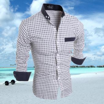 Mens Slim Fit Shirts Long Sleeve Formal Dress CasualT-shirt(White)L - intl - 2